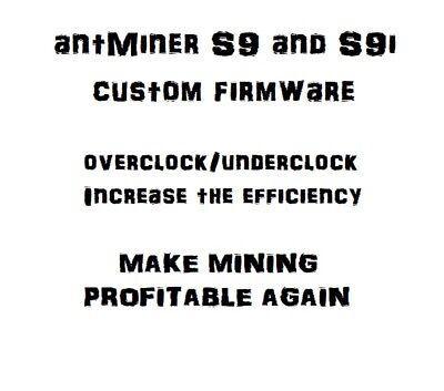 antMiner S9 Custom Firmware v7, No fan check (NO FEES)