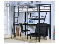 High sleeper Metal frame loft bed with desk and leather futon
