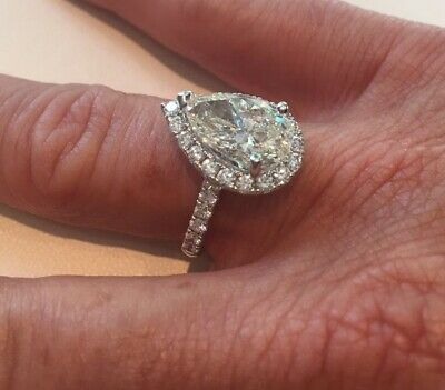 Gorgeous 2.00 ct. Pear Cut Diamond Halo Pave Engagement Ring GIA H, VS2 18k 3