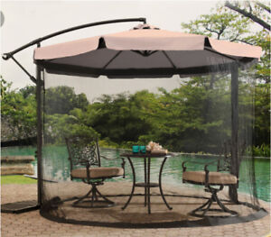 Patio umbrella with removable bug net