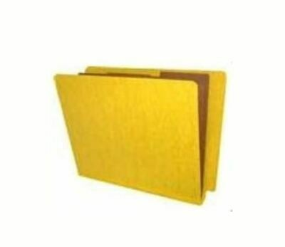 End Tab Pressboard Folders w/ 2 Kraft dividers - Letter Size -Yellow - Box of 10 1 Kraft Divider
