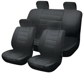 NEW SEALED UNUSED Leather Look Car Universal Seat Covers-Black