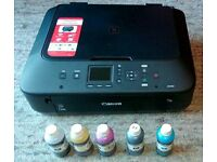 Canon MG5650 Printer with refillable cartridges and 5 bottles of ink