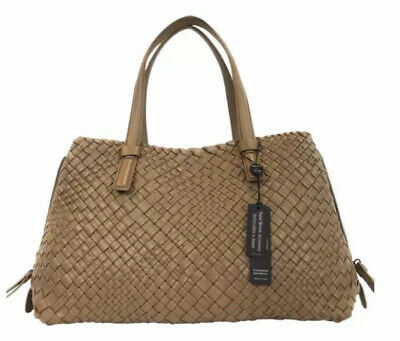 FALOR-FALORNI-La Borse Made In Italy Woven Leather Purse – Taupe – NWT - $600+
