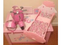 TOY BOX, DOLL'S BED AND SCOOTER