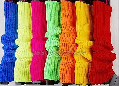 Fashion Ladies Party Legwarmer Knitted Neon Dance 80s Costume 1980s Leg Warmer ^ - Leg Warmers 80s