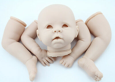 "DIY Reborn Dolls Unpainted Kits Soft Vinyl Head 3/4 Limbs For Making 20-22"" Baby"