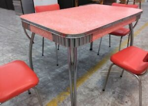 Retro Red 1960s Dining table and 4 retro red chrome chairs