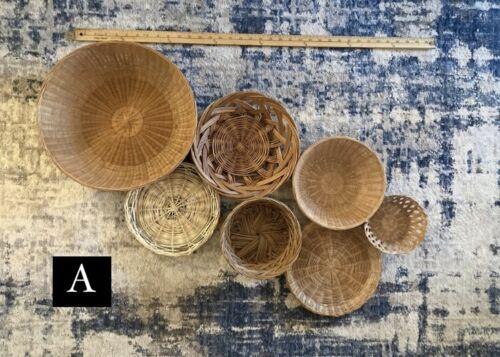 Boho Wall Basket Sets -  Chic Vintage Decor Rattan Wicker Choice of Lot
