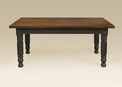 (Large Farmhouse Kitchen Table Plank Top Cherry Wood Made in USA Furniture 8ft)