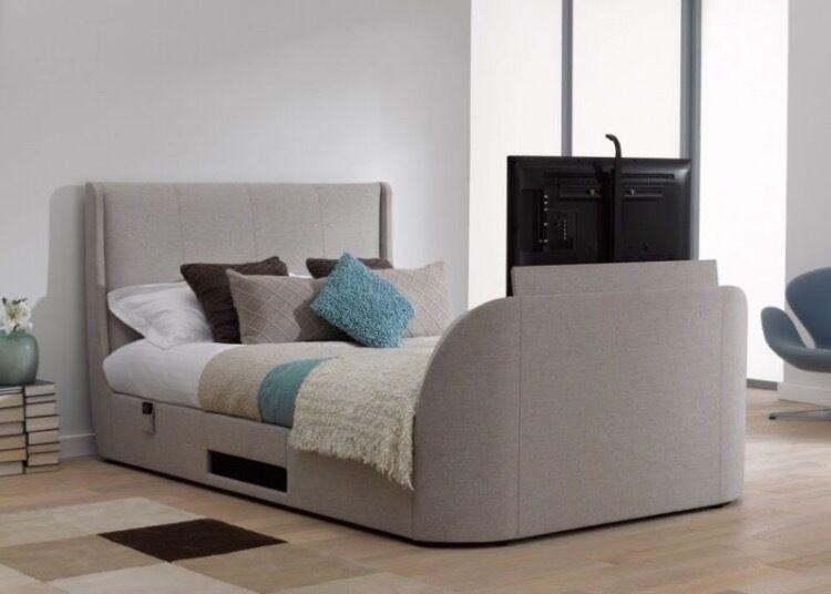 Titanium T3 SuperKing Size Oatmeal Upholstered TV Bed Frame Tempur Original Mattress 40 Samsung