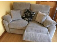2 two seater grey recliner sofas for sale