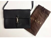 Authentic Gucci Jackie Flap Crossbody Black Leather Bag - Preowned