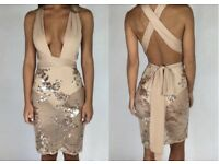 Nude MultiWay Sheer Sequin Dress