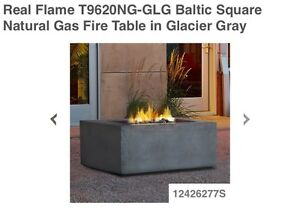 Brand new - real flame natural gas fire table - glacier grey