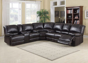 CHOCOLATE SECTIONAL SOFA W/RECLINERS WHOLESALE BLOWOUT $999.99!!