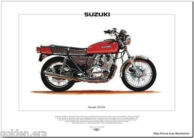 SUZUKI GS750 Motorcycle Fine Art Print - 1976 Superbike