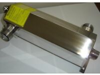 Architectural stainless steel swimming pool heat exchangers