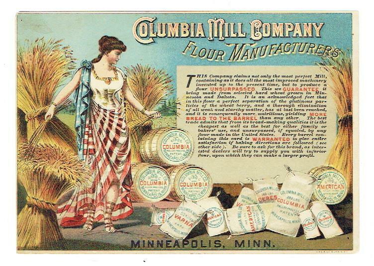 "Flour Trade Card-Columbia Mill Co.-MPLS- ""Best Mill-Best Flour"" Fine"