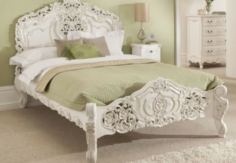 Stunning Rococo Antique French Superking Bed U0026 2 Matching Bedside Tables