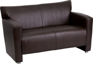 Brown Leather Loveseat $675