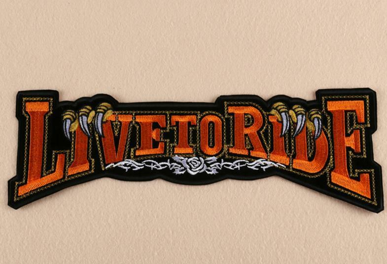 LIVE TO RIDE EMBROIDERD BACK PATCH LARGE JACKET VEST HELMET HARLEY SHIRT SOFTAIL