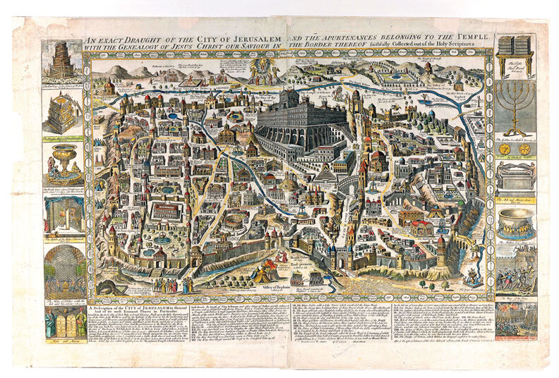 Ancient Graphic Color Map of Jerusalem 1770, Style A, Shows Ancient sites