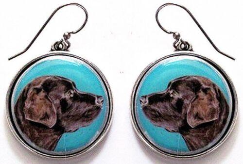 Labrador Retriever Chocolate Original Art Earrings