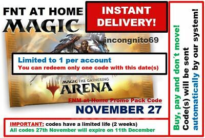 MAGIC MTGA MTG Arena Code FNM Home Promo Pack NOV NOVEMBER 27 INSTANT EMAIL