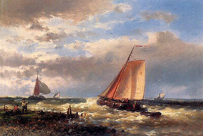 Art Oil painting A CHOPPY ESTUARY with sail boats waves and storm in sunset
