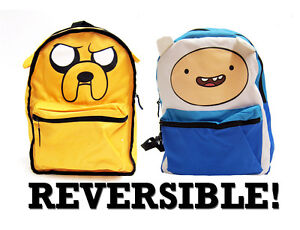 Adventure-Time-Finn-Jake-LICENSED-Backpack-School-Bag-REVERSIBLE