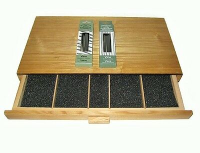 Art Alternatives Elm Wood Charcoal   Pastel Box 1 Drawer W  Charcoals Great Cond