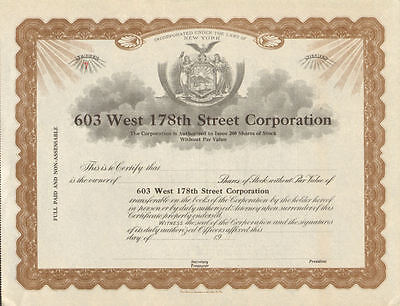 603 West 178Th Street Corporation   New York Stock Certificate Share