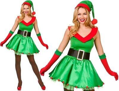 Damen Weihnachten Santa's Kleine Helfer Elfen Kostüm Neu