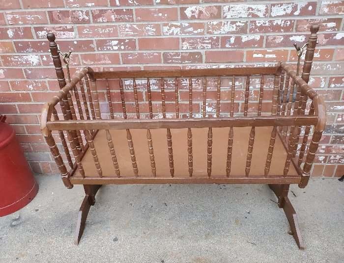 """Vintage Jenny Lind Baby Wooden Bassinet Swing Cradle 40.5x36"""""""