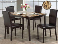BRAND NEW FAUX MARBLE 5 Pcs DINNING SET / STRONG METAL FRAME