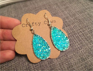 Blue/ Aqua Druzzy Stone Earrings