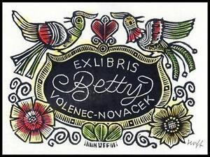 Huffert Hermann X3 Exlibris Bookplate Flowers Blumen Bird Vogel Folklore 1235 - <span itemprop=availableAtOrFrom> Dabrowa, Polska</span> - Huffert Hermann X3 Exlibris Bookplate Flowers Blumen Bird Vogel Folklore 1235 -  Dabrowa, Polska