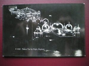 POSTCARD-SUSSEX-BRIGHTON-PALACE-PIER-BY-NIGHT