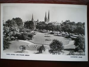 POSTCARD-RP-COVENTRY-GREYFRIARS-GREEN-AND-THE-THREE-SPIRES-IN-DISTANCE