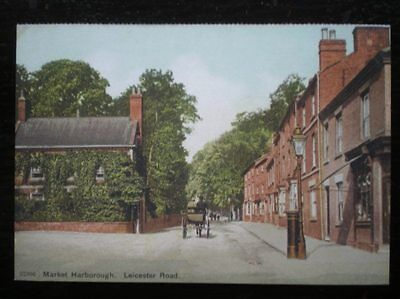 POSTCARD B43-3 LEICESTERSHIRE MARKET HARBOROUGH - LEICESTER ROAD C1900'S