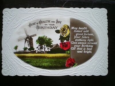 POSTCARD - RP EMBOSSED BEST OF HEALTH & JOY ON YOUR BIRTHDAY -