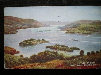 POSTCARD BUTE KYLES OF BUTE - FROM ABOVE CALADH CASTLE W/COLOUR BY B GERALD