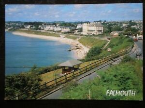 POSTCARD-CORNWALL-FALMOUTH-CLIFF-ROAD-CASTLE-BEACH