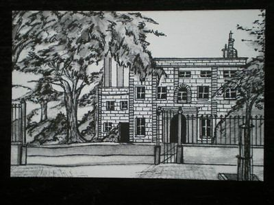 POSTCARD ALDERNEY THE ISLAND HALL - PENCIL SKETCH