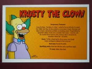 POSTCARD THE SIMPSONS - KRUSTY THE CLOWN DETAILS