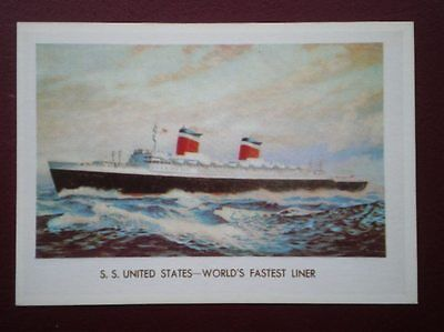 POSTCARD CRUISE LINERS S.S. UNITED STATES 1952
