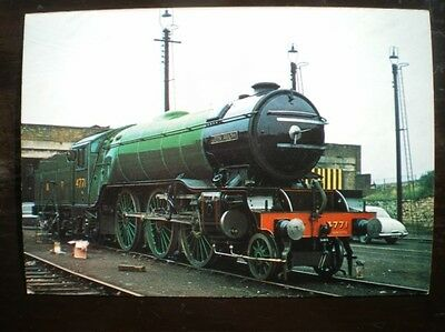 POSTCARD RP RAIL LNER V2 CLASS LOCO NO 4771 'GREEN ARROW' AT CARNFORTH 1974