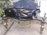 Cast Iron and Brass Art Deco Fire Basket