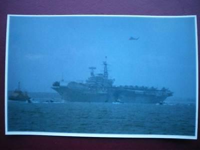 POSTCARD RP WWI FALKLANDS TASK FORCE - HMS HERMES THE OPEN SEA & A LONG VOYAGE A